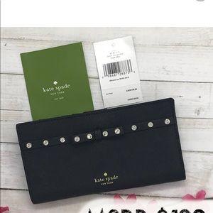 Kate spade black laurel way jeweled wallet purse